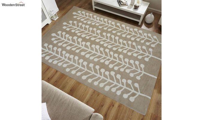 Brown Hand Tufted Cut Pile Wool Carpet - 9.9 x 6.6 Feet-1