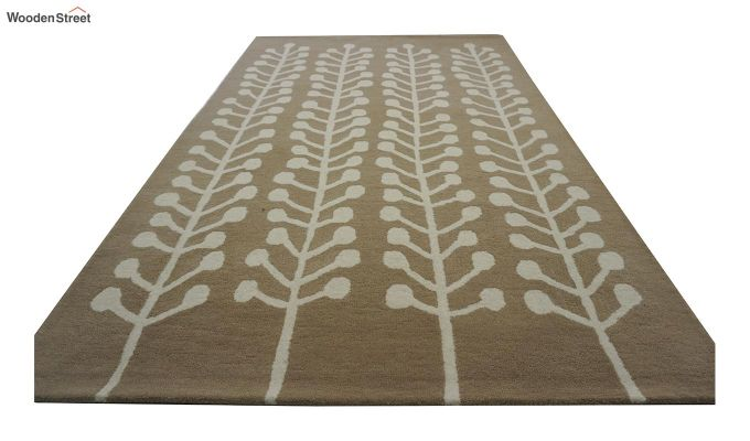 Brown Hand Tufted Cut Pile Wool Carpet - 9.9 x 6.6 Feet-3