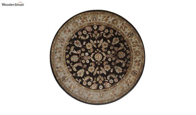 Brown Oriental Pattern Hand Tufted Wool & Viscose Carpet - 5 x 5 Feet-7