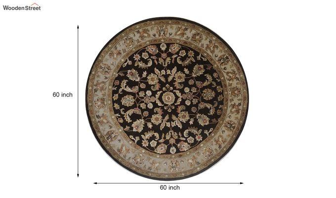 Brown Oriental Pattern Hand Tufted Wool & Viscose Carpet - 5 x 5 Feet-8