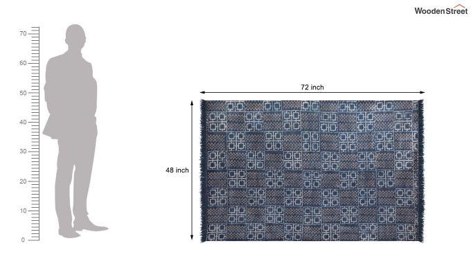 Cobalt Chain Hand Woven Cotton Rug (Cobalt Chain)-5