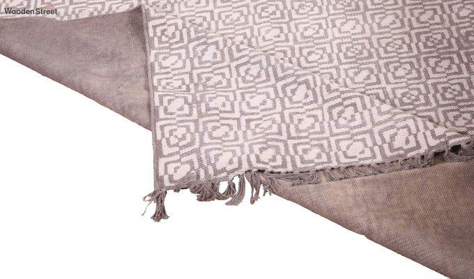 Flawed Biege Hand Woven Cotton Rug (Flawed Biege)-4
