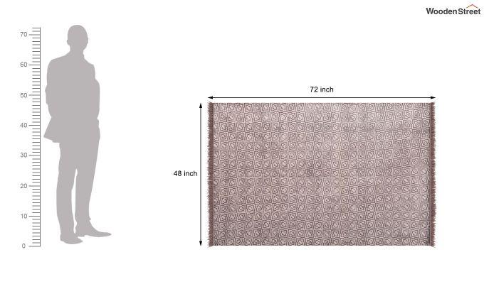Flawed Biege Hand Woven Cotton Rug (Flawed Biege)-5