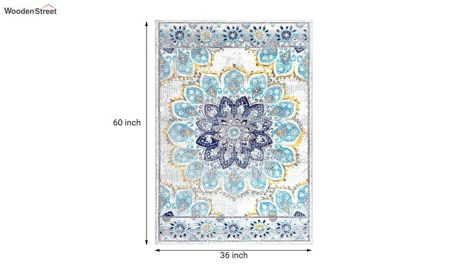 Floral Print Vintage Nylon Carpet - 5 x 3 Feet-7