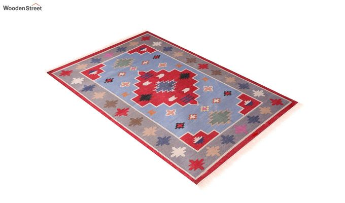 Floral Thrush Hand Woven Cotton Rug (Floral Thrush)-2