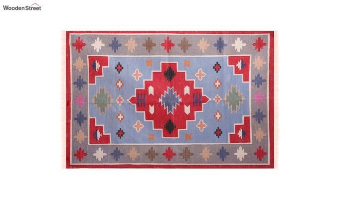 Floral Thrush Hand Woven Cotton Rug (Floral Thrush)-3
