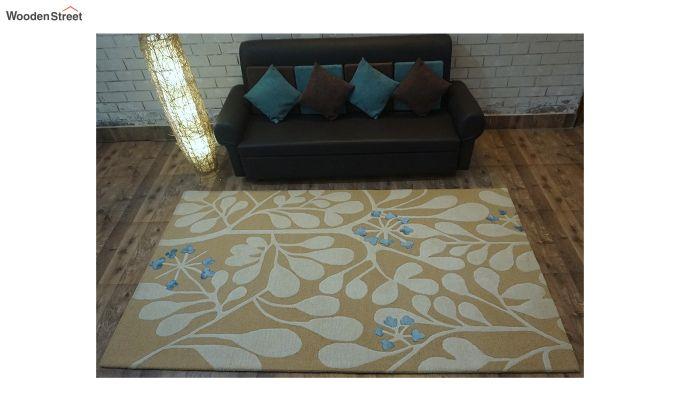 Gold Floral Pattern Hand Tufted Wool Floor Mat - 8 x 5 Feet-1