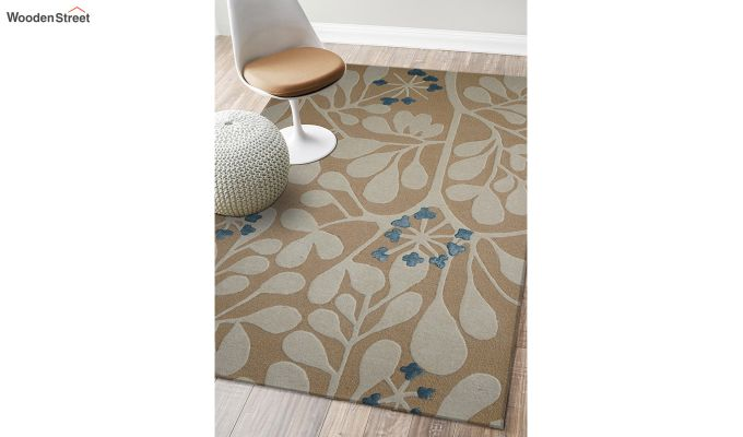 Gold Floral Pattern Hand Tufted Wool Carpet - 6 x 4 Feet-2