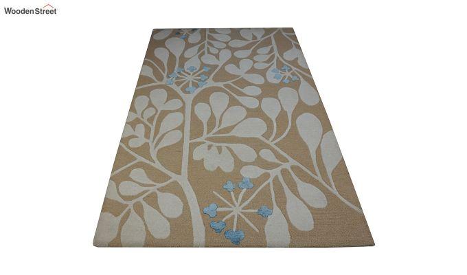 Gold Floral Pattern Hand Tufted Wool Floor Mat - 8 x 5 Feet-3