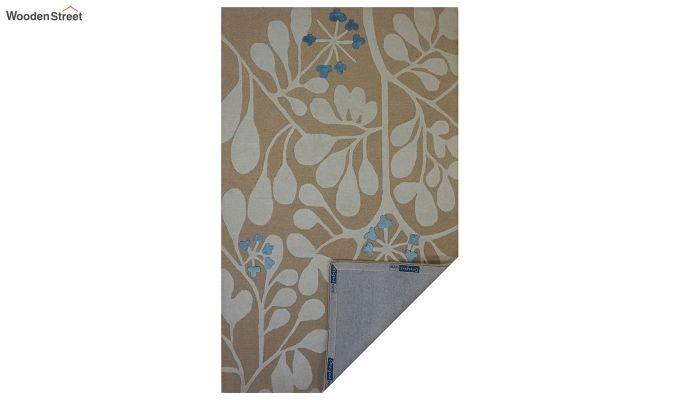 Gold Floral Pattern Hand Tufted Wool Floor Mat - 8 x 5 Feet-4