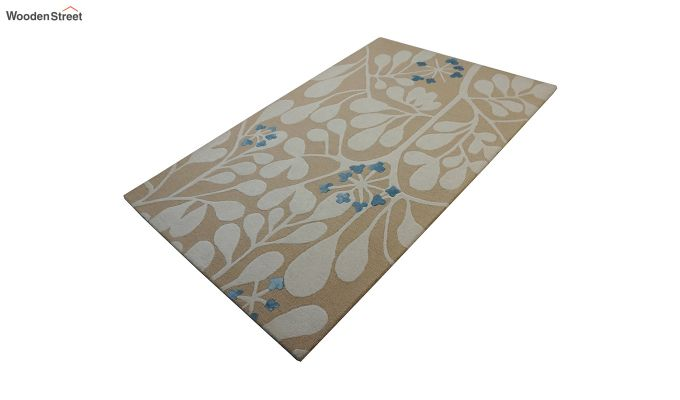 Gold Floral Pattern Hand Tufted Wool Carpet - 6 x 4 Feet-5
