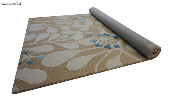 Gold Floral Pattern Hand Tufted Wool Carpet - 6 x 4 Feet-6