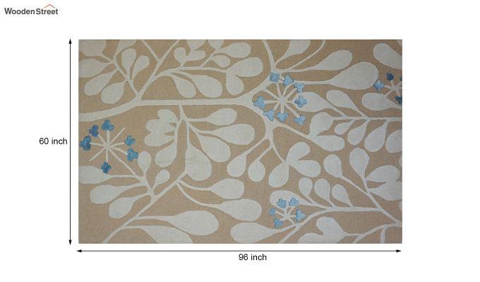 Gold Floral Pattern Hand Tufted Wool Floor Mat - 8 x 5 Feet-8