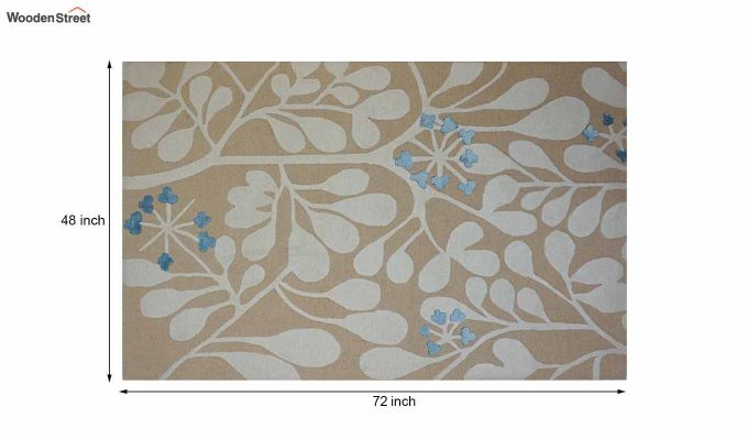 Gold Floral Pattern Hand Tufted Wool Carpet - 6 x 4 Feet-8