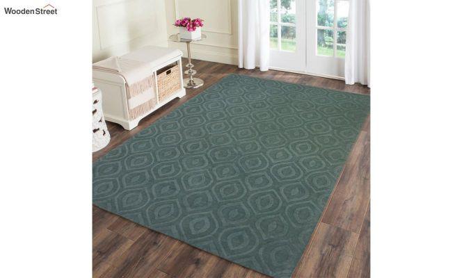 Green Plain Solid Textured Hand Tufted Wool Carpet - 8 x 5 Feet-1