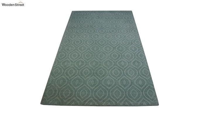 Green Plain Solid Textured Hand Tufted Wool Carpet - 8 x 5 Feet-2