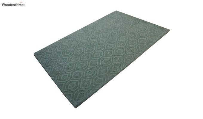 Green Plain Solid Textured Hand Tufted Wool Carpet - 8 x 5 Feet-4