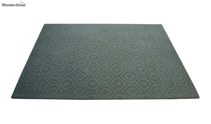Green Plain Solid Textured Hand Tufted Wool Carpet - 8 x 5 Feet-5