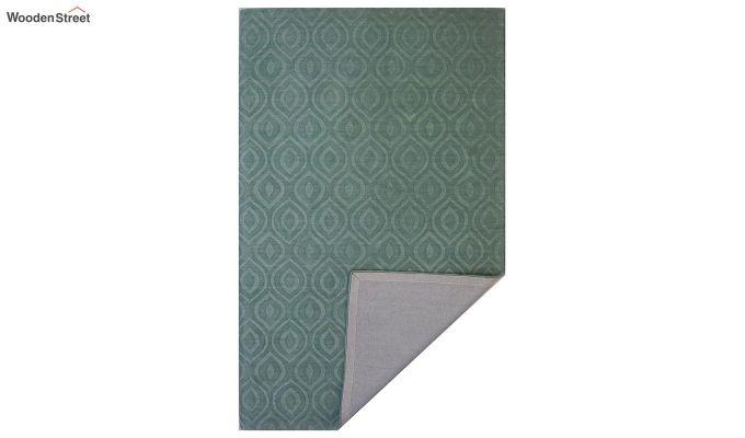 Green Plain Solid Textured Hand Tufted Wool Carpet - 8 x 5 Feet-6