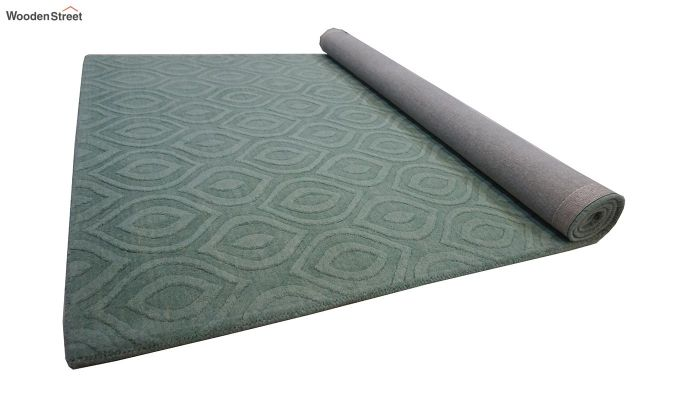 Green Plain Solid Textured Hand Tufted Wool Carpet - 8 x 5 Feet-7