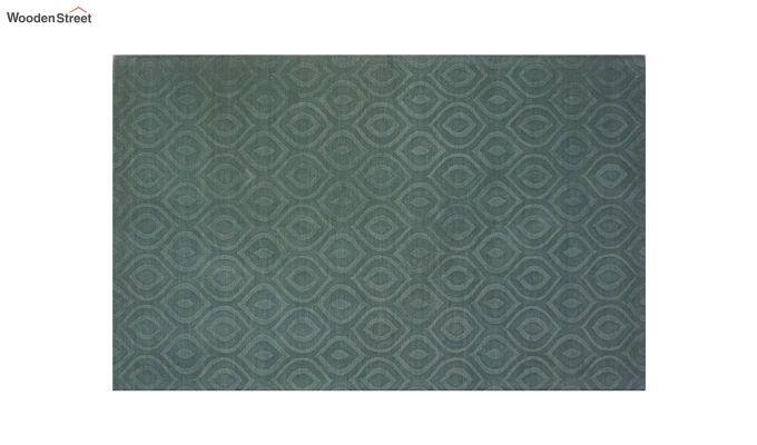 Green Plain Solid Textured Hand Tufted Wool Carpet - 8 x 5 Feet-9