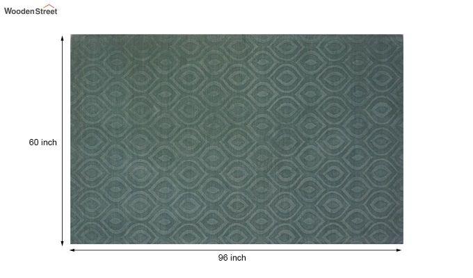 Green Plain Solid Textured Hand Tufted Wool Carpet - 8 x 5 Feet-10