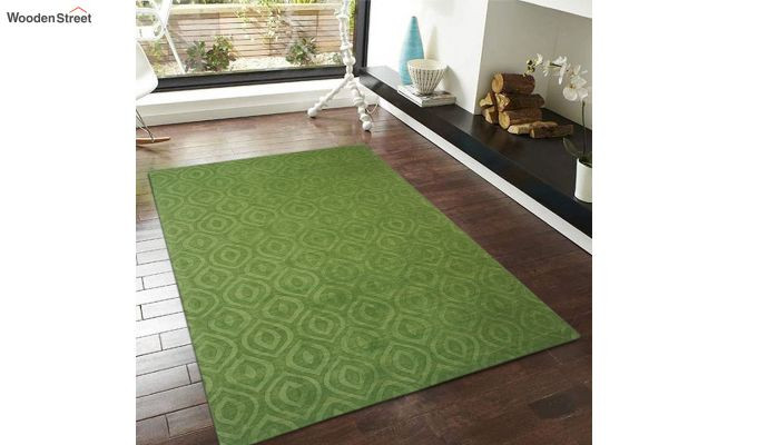 Green Solid Textured Hand Tufted Wool Carpet - 8 x 5 Feet-1