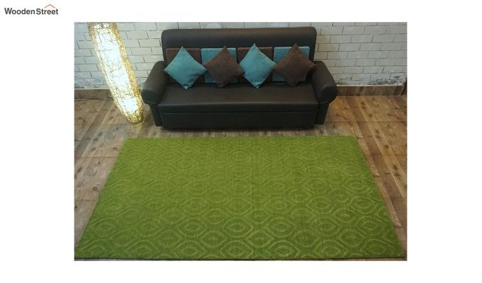 Green Solid Textured Hand Tufted Wool Carpet - 8 x 5 Feet-2