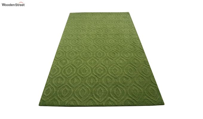 Green Solid Textured Hand Tufted Wool Carpet - 8 x 5 Feet-3