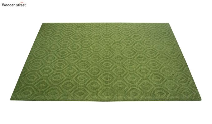 Green Solid Textured Hand Tufted Wool Carpet - 8 x 5 Feet-4