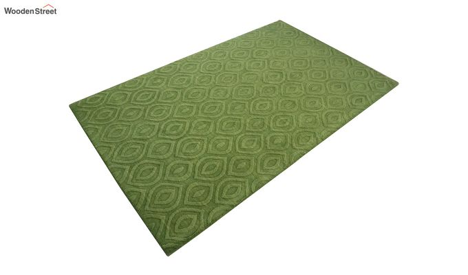 Green Solid Textured Hand Tufted Wool Carpet - 8 x 5 Feet-5