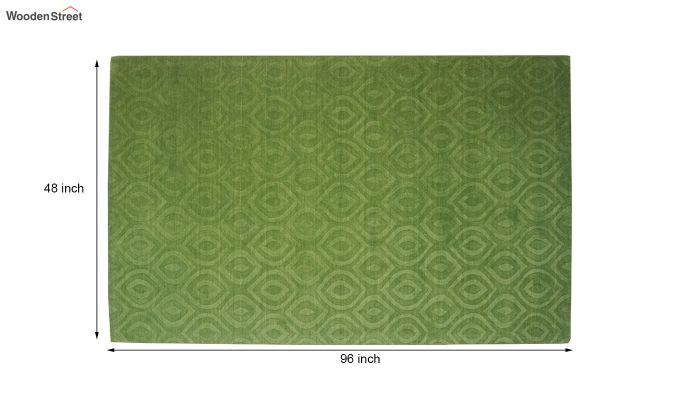 Green Solid Textured Hand Tufted Wool Carpet - 8 x 5 Feet-7