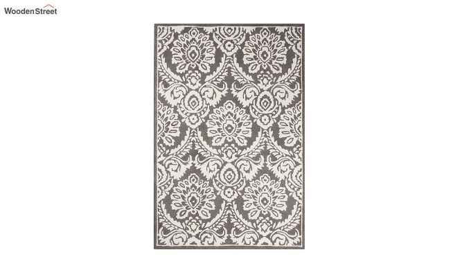 Grey and Ivory Damask Hand Tufted Wool Carpet - 6 x 4 Feet-2