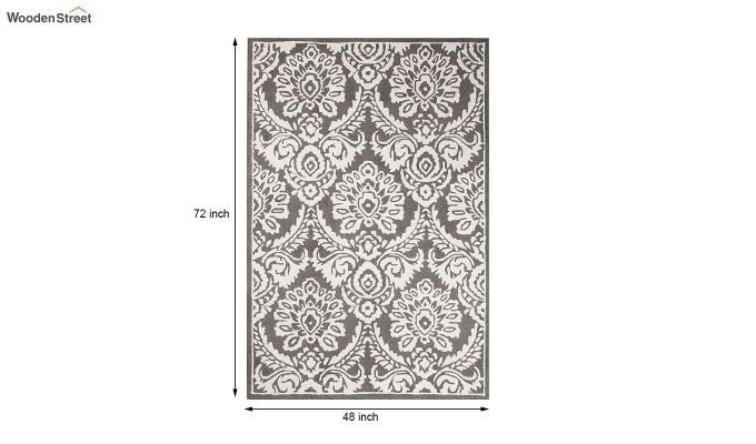 Grey and Ivory Damask Hand Tufted Wool Carpet - 6 x 4 Feet-5