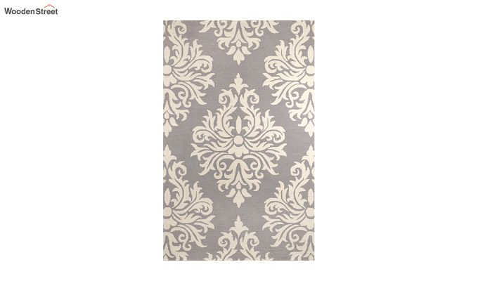 Grey and Ivory Damask Hand Tufted Wool Carpet - 8 x 5 Feet-2