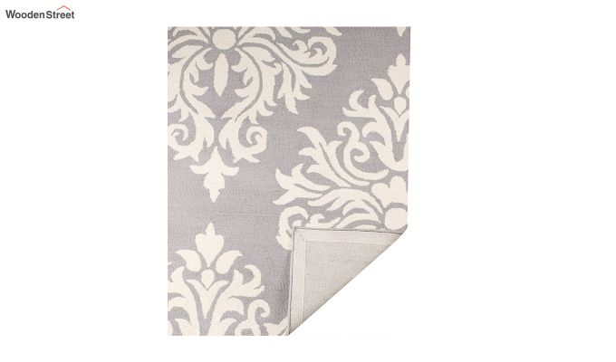 Grey and Ivory Damask Hand Tufted Wool Carpet - 8 x 5 Feet-3