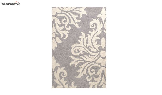Grey and Ivory Damask Hand Tufted Wool Carpet - 8 x 5 Feet-4