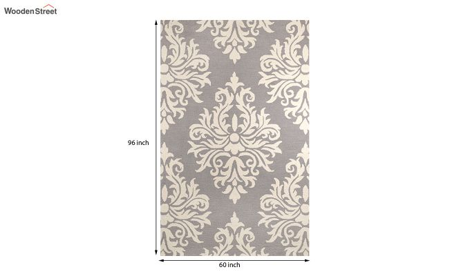 Grey and Ivory Damask Hand Tufted Wool Carpet - 8 x 5 Feet-5