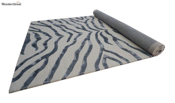 Grey Chevron Design Wool & Viscose Hand Tufted Carpet - 8 x 5 Feet-2