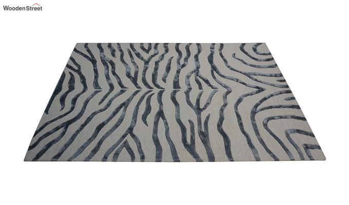 Grey Chevron Design Wool & Viscose Hand Tufted Carpet - 8 x 5 Feet-3