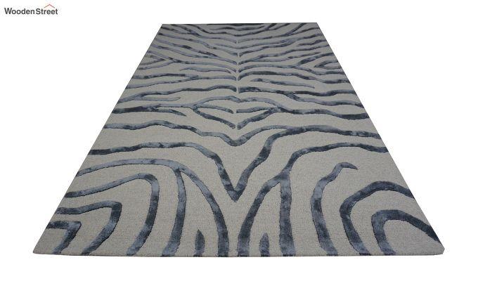 Grey Chevron Design Wool & Viscose Hand Tufted Carpet - 8 x 5 Feet-4