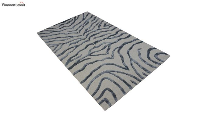 Grey Chevron Design Wool & Viscose Hand Tufted Carpet - 8 x 5 Feet-6