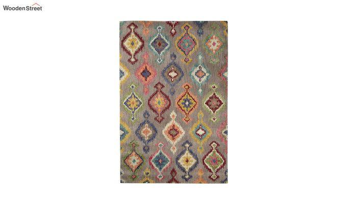 Grey Ikat Hand Tufted Wool Carpet - 8 x 5 Feet-2