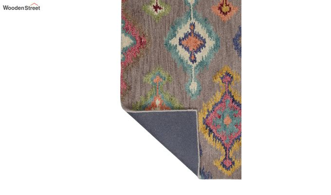 Grey Ikat Hand Tufted Wool Carpet - 8 x 5 Feet-4