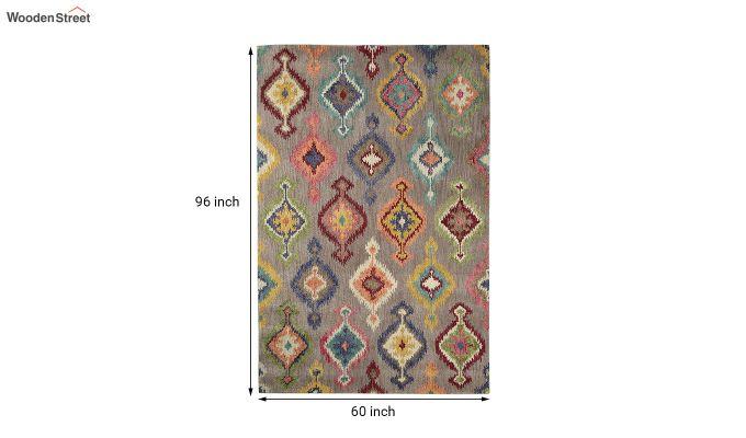 Grey Ikat Hand Tufted Wool Carpet - 8 x 5 Feet-5