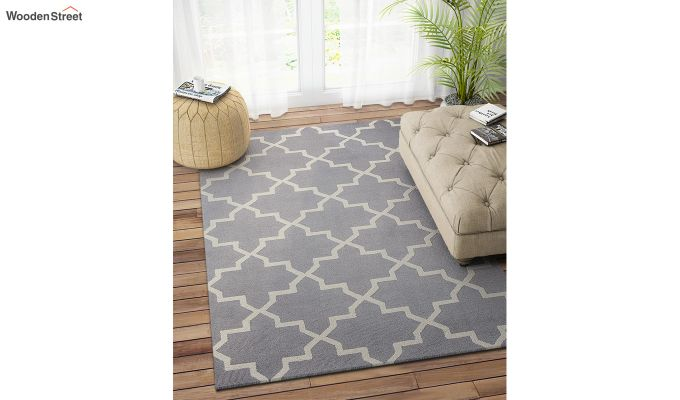 Grey Moroccan Hand Tufted Wool Carpet - 8 x 5 Feet-1
