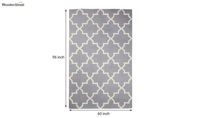 Grey Moroccan Hand Tufted Wool Carpet - 8 x 5 Feet-5