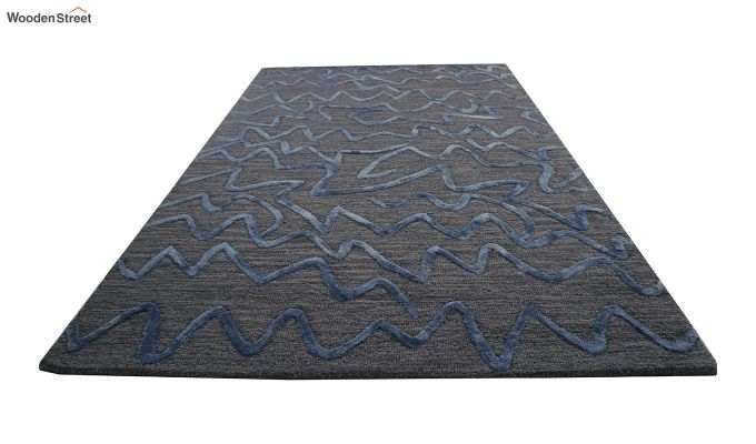 Grey Stripes Design Hand Tufted Wool and Viscose Carpet - 6 x 4 Feet-4