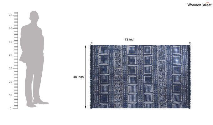 Indigo Blocks Hand Woven Cotton Rug (Indigo Blocks)-4