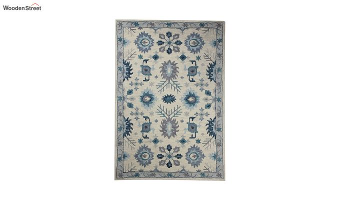 Ivory Blue Suzani Hand Tufted Wool Carpet - 8 x 5 Feet-2